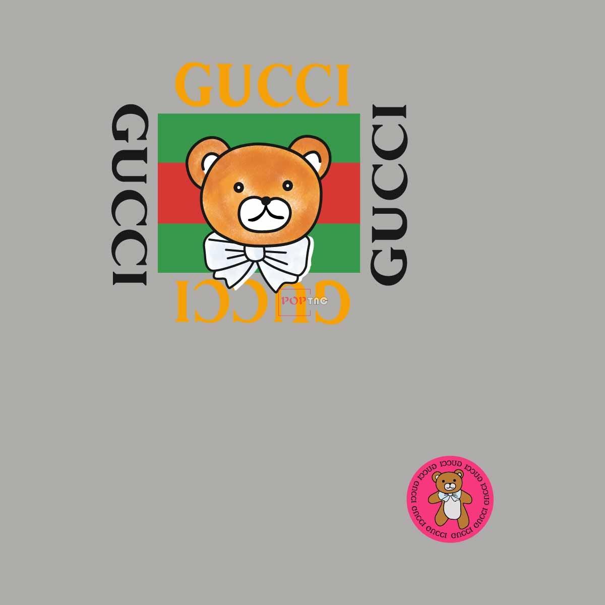 卡通动物潮牌熊字母印花服装裁片T恤卫衣烫图印花花型素材-POP花型网