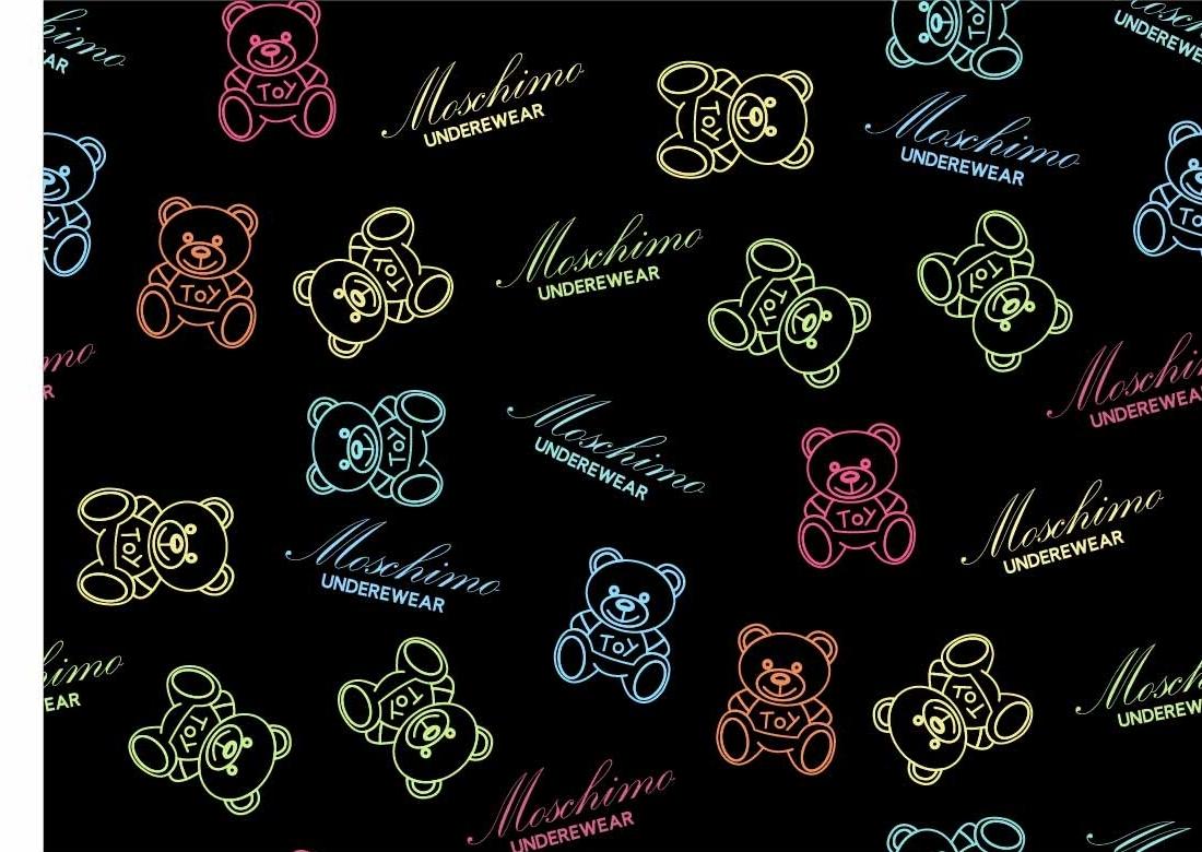 卡通动物潮牌熊字母印花图案服装纺织数码印花花型素材-POP花型网