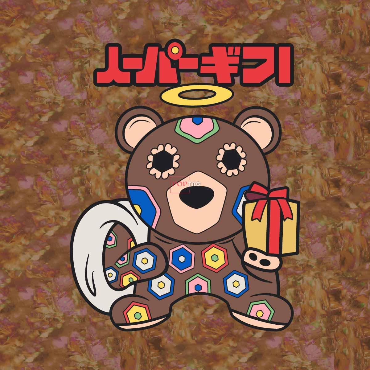 卡通动物熊印花图案服装裁片T恤卫衣烫图印花花型素材-POP花型网