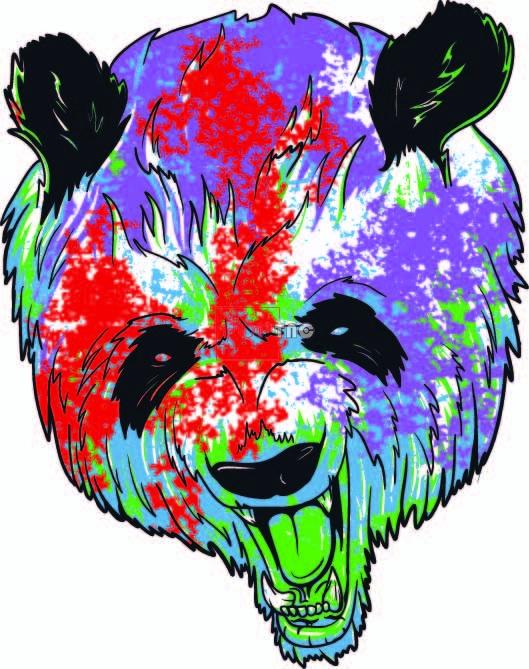 卡通动物大熊猫色彩涂鸦印花图案服装裁片T恤卫衣烫图印花花型素材-POP花型网