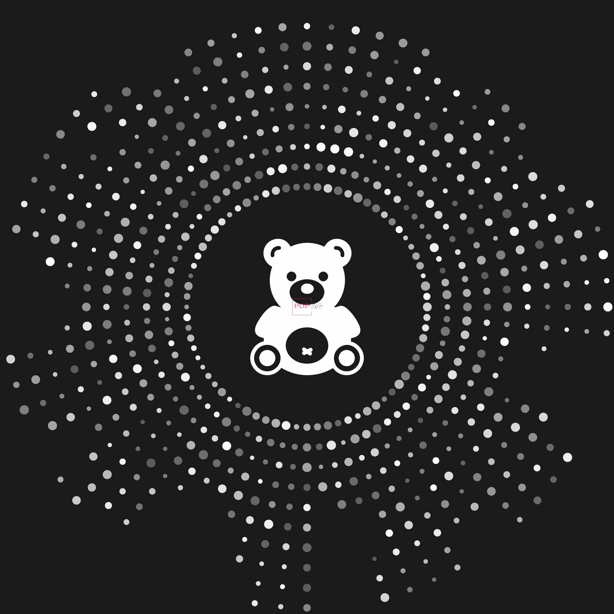 卡通动物潮牌熊圆点图案印花图案服装裁片T恤卫衣烫图印花花型素材-POP花型网
