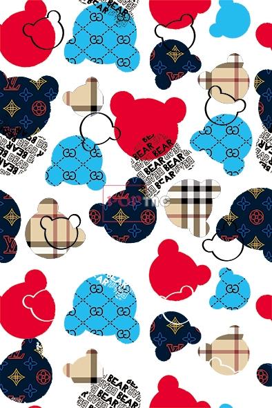 卡通熊潮牌花纹印花图案服装纺织数码印花花型素材-POP花型网