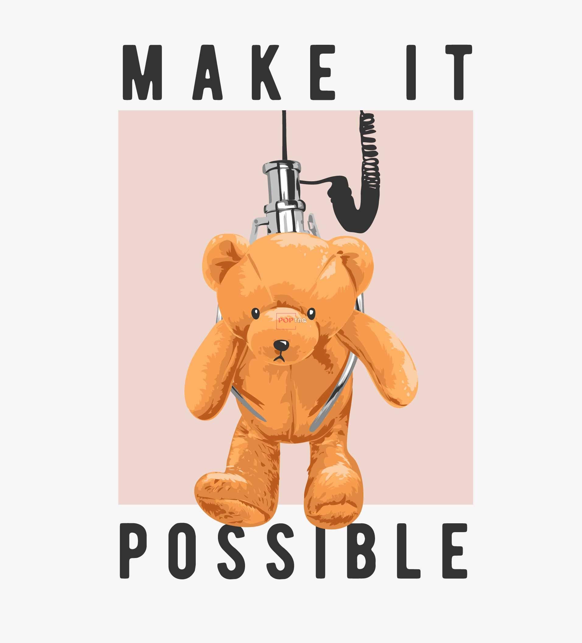 卡通玩具机动物潮牌熊字母印花图案服装裁片T恤卫衣烫图印花花型素材-POP花型网