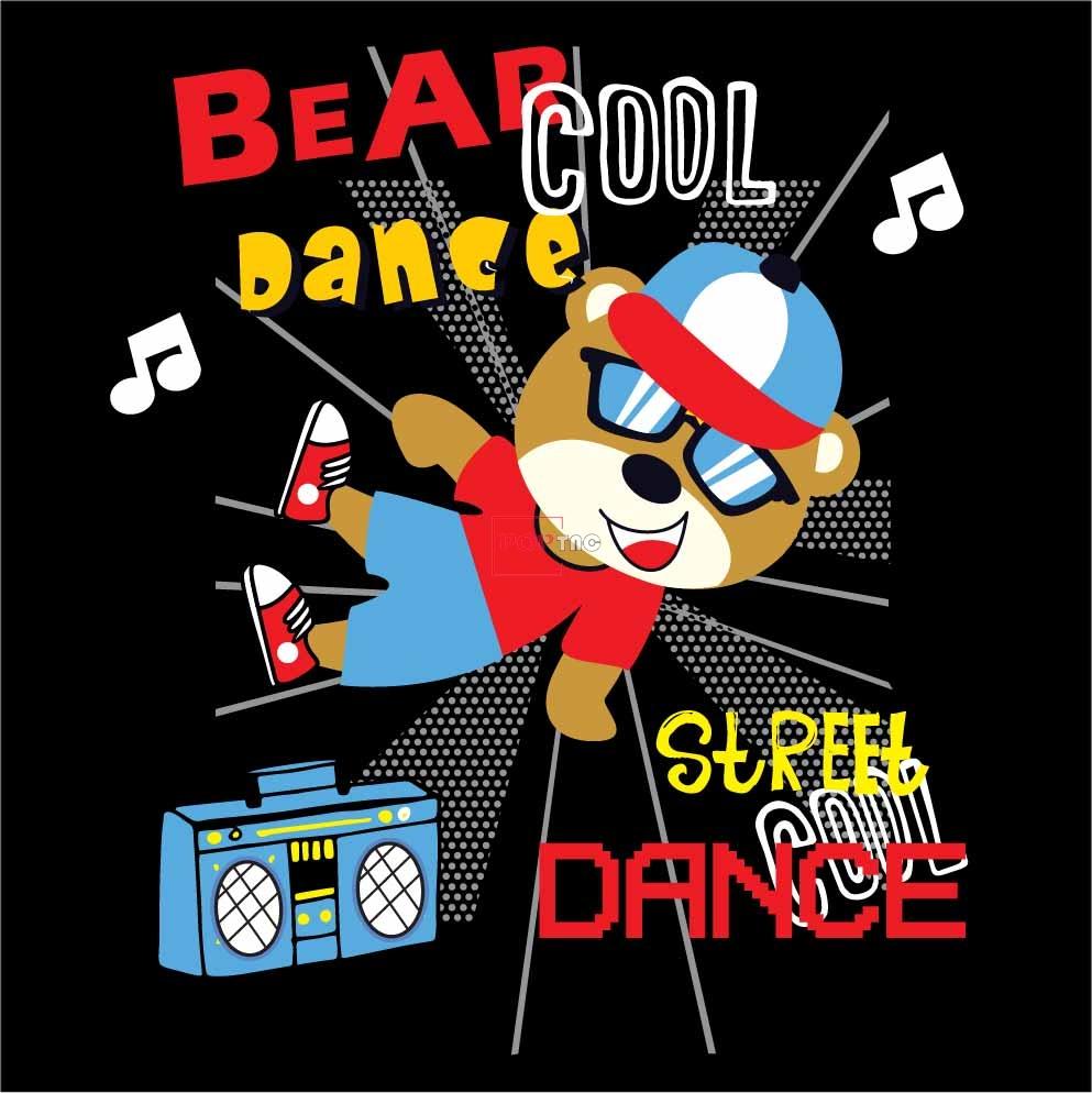 卡通动物熊字母收音机印花图案服装裁片T恤卫衣烫图印花花型素材-POP花型网