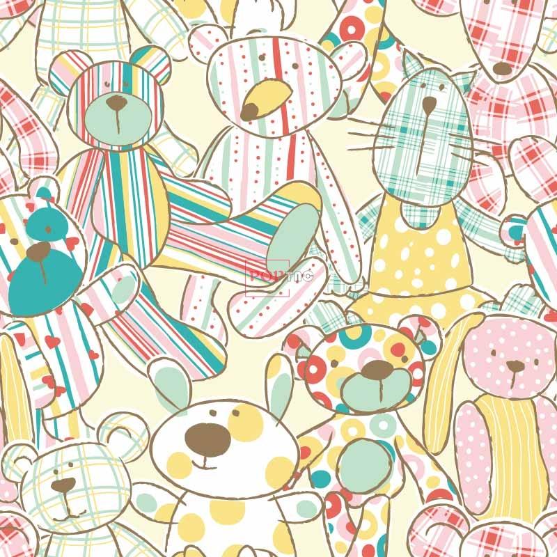 动物玩偶熊印花图案服装纺织数码印花花型素材-POP花型网