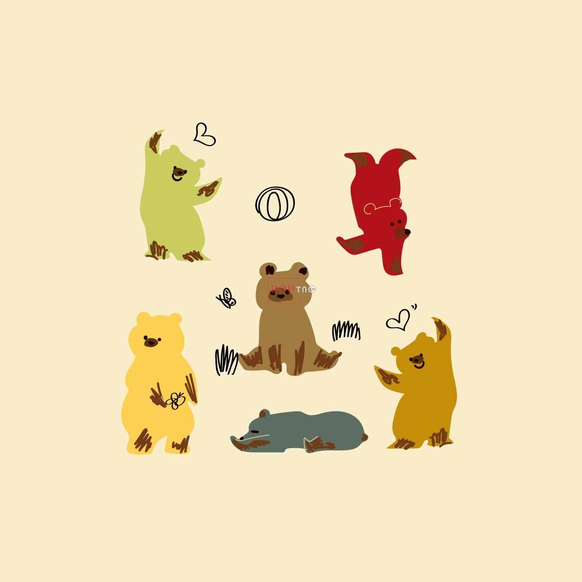 卡通图案熊印花服装裁片T恤卫衣烫图印花花型素材-POP花型网