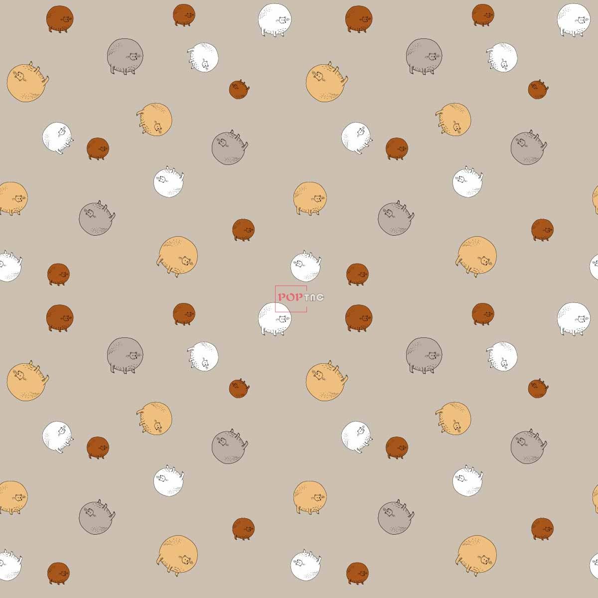 卡通圆形动物印花图案服装纺织数码印花花型素材-POP花型网
