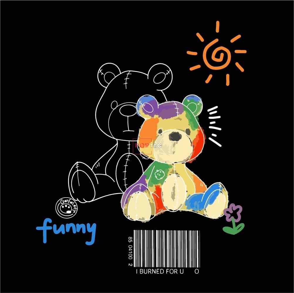 卡通动物多彩玩具熊字母印花图案服装裁片T恤卫衣烫图印花花型素材-POP花型网