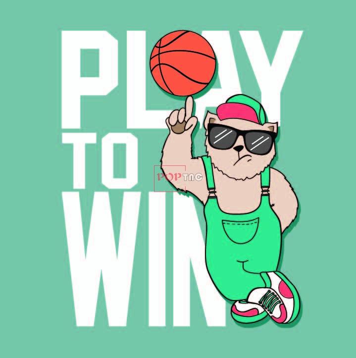 卡通动物篮球字母印花图案服装裁片T恤卫衣烫图印花花型素材-POP花型网