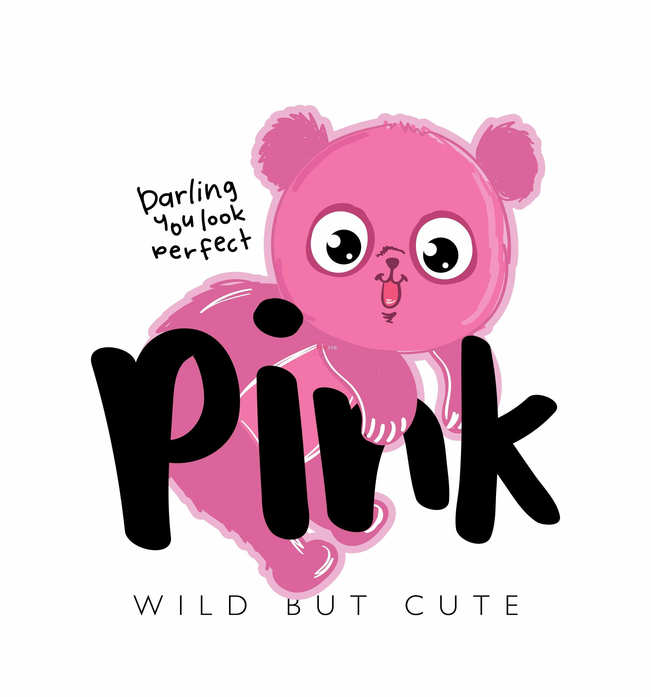 卡通动物粉色熊字母印花图案服装裁片T恤卫衣烫图印花花型素材-POP花型网