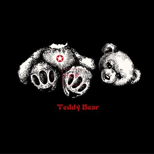 卡通动物断头熊字母印花图案服装裁片T恤卫衣烫图印花花型素材-POP花型网