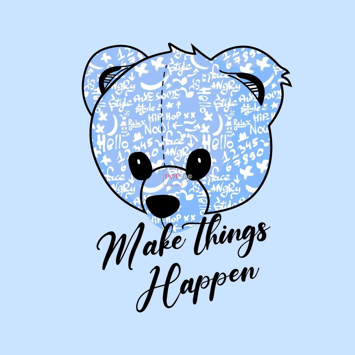 卡通动物熊字母印花图案服装裁片T恤卫衣烫图印花花型素材-POP花型网