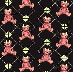几何线条图案潮牌熊印花服装纺织数码印花花型素材-POP花型网