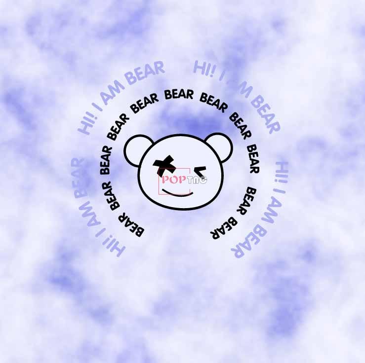 卡通动物潮牌熊字母印花图案服装裁片T恤卫衣烫图印花花型素材-POP花型网