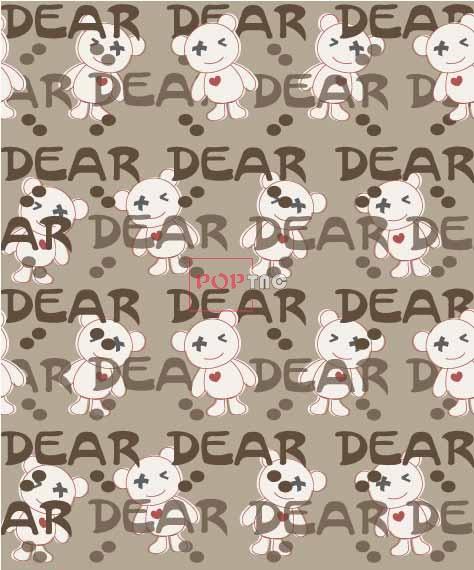 潮牌熊字母印花图案服装纺织数码印花花型素材-POP花型网
