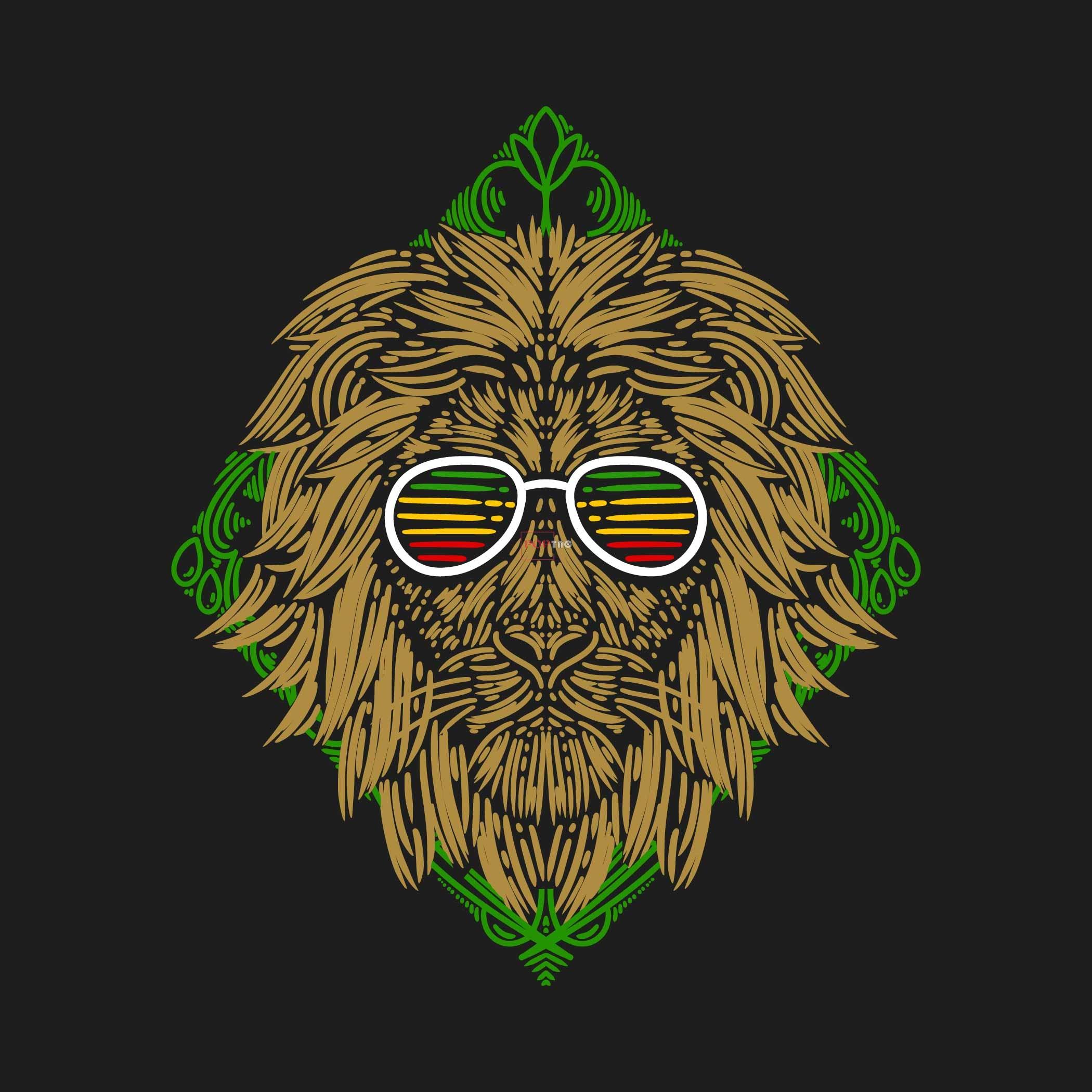 几何线条拼接动物狮子印花图案服装裁片T恤卫衣烫图印花花型素材-POP花型网