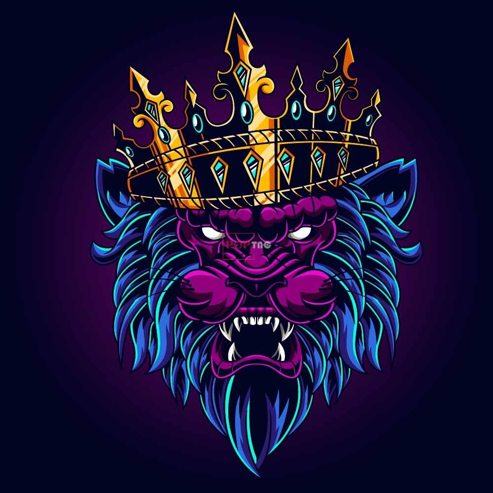 狮子皇冠印花图案服装裁片T恤卫衣烫图印花花型素材-POP花型网