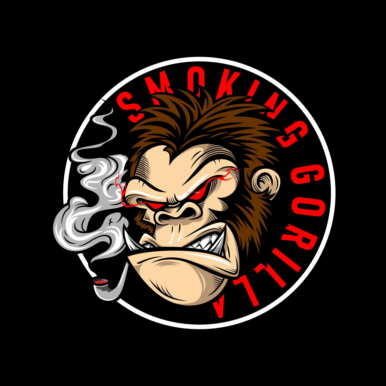 卡通动物抽烟大猩猩字母印花图案服装裁片T恤卫衣烫图印花花型素材-POP花型网