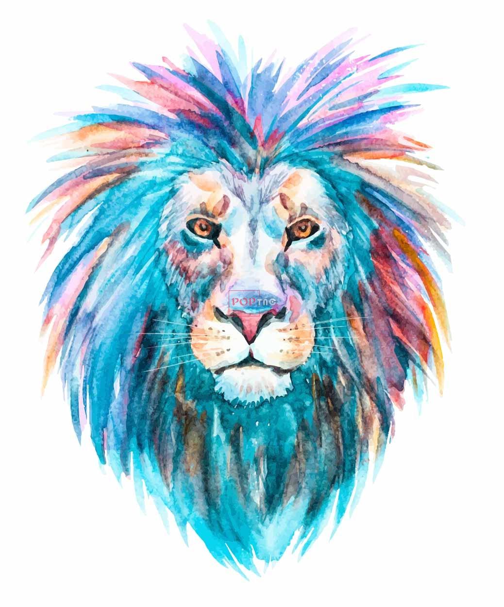 水彩狮子印花图案服装裁片T恤卫衣烫图印花花型素材-POP花型网