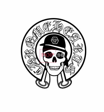 几何字母图案骷髅头潮牌印花服装裁片T恤卫衣烫图印花花型素材-POP花型网