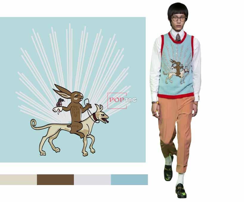 几何线条卡通兔子印花图案服装裁片T恤卫衣烫图印花花型素材-POP花型网