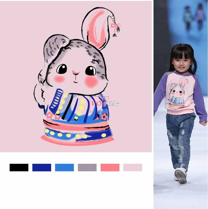 卡通动物兔子印花图案服装裁片T恤卫衣烫图印花花型素材-POP花型网