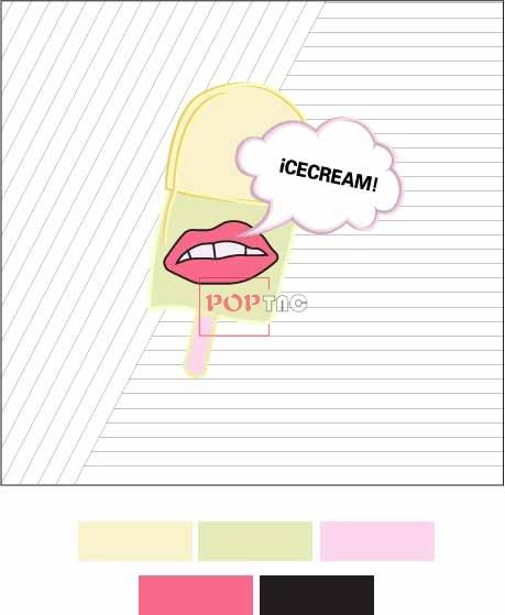 几何线条卡通雪糕字母印花图案服装裁片T恤卫衣烫图印花花型素材-POP花型网