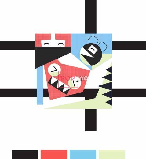 卡通抽象图案印花服装裁片T恤卫衣烫图印花花型素材-POP花型网