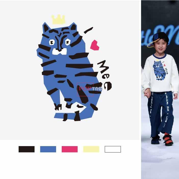 卡通动物手绘老虎字母印花图案服装裁片T恤卫衣烫图印花花型素材-POP花型网