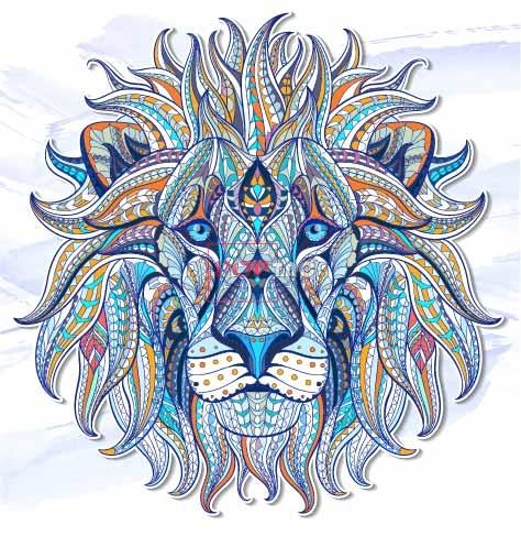 几何民族风狮子图案印花服装裁片T恤卫衣烫图印花花型素材-POP花型网