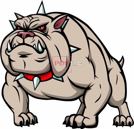 卡通动物恶犬印花图案服装裁片T恤卫衣烫图印花花型素材-POP花型网