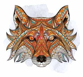 几何民族风狐狸图案印花服装裁片T恤卫衣烫图印花花型素材-POP花型网