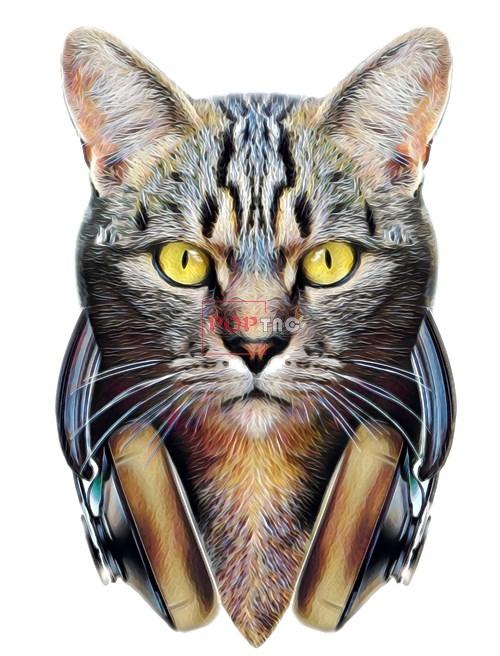 动物猫咪耳机印花图案服装裁片T恤卫衣烫图印花花型素材-POP花型网