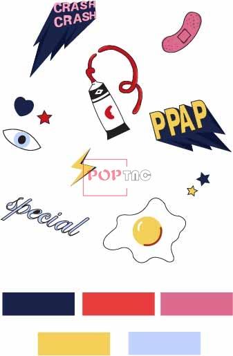 几何图案闪电字母印花图案服装裁片T恤卫衣烫图印花花型素材-POP花型网