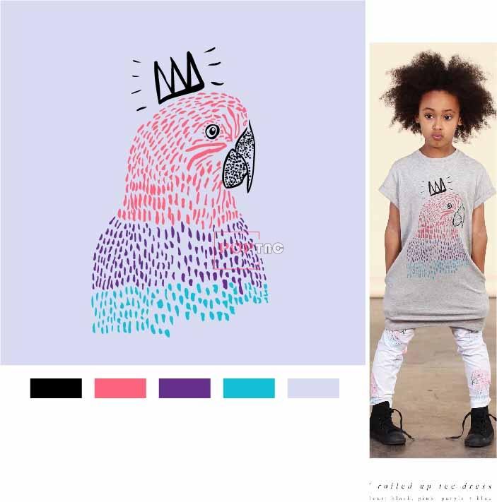 卡通动物鹦鹉皇冠印花图案服装裁片T恤卫衣烫图印花花型素材-POP花型网
