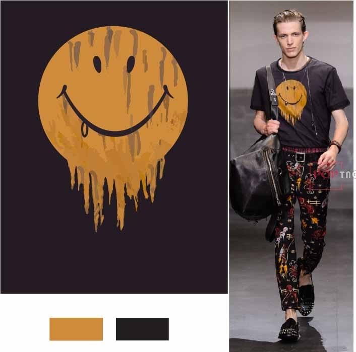 卡通图案笑脸印花图案服装裁片T恤卫衣烫图印花花型素材-POP花型网