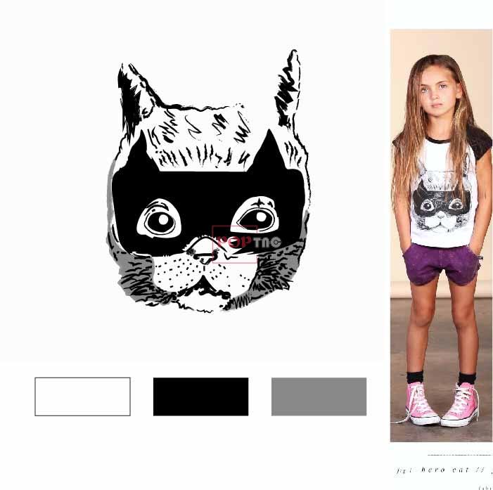 卡通动物猫咪印花图案服装裁片T恤卫衣烫图印花花型素材-POP花型网