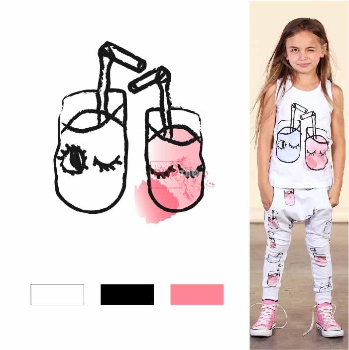 手绘卡通杯子图案印花服装裁片T恤卫衣烫图印花花型素材-POP花型网