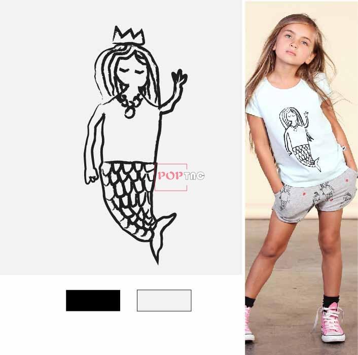 手绘卡通美人鱼印花图案服装裁片T恤卫衣烫图印花花型素材-POP花型网