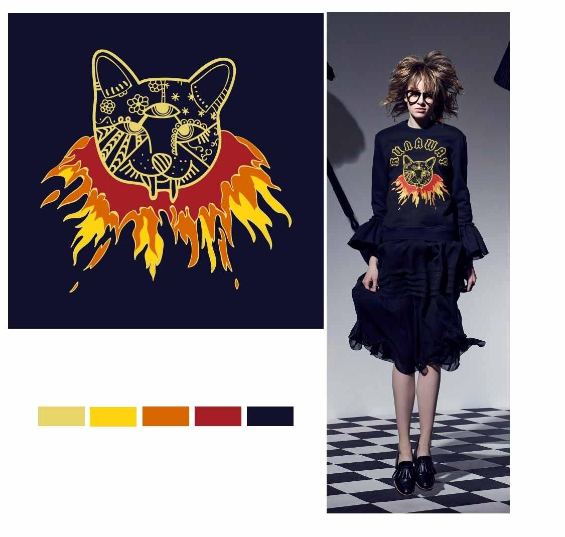动物猫咪火焰印花图案服装裁片T恤卫衣烫图印花花型素材-POP花型网