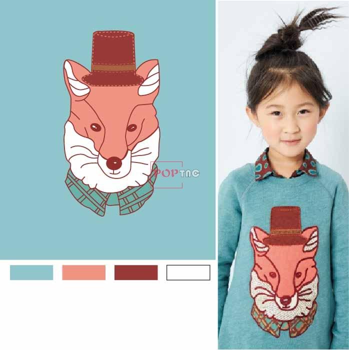 卡通动物狐狸印花图案服装裁片T恤卫衣烫图印花花型素材-POP花型网