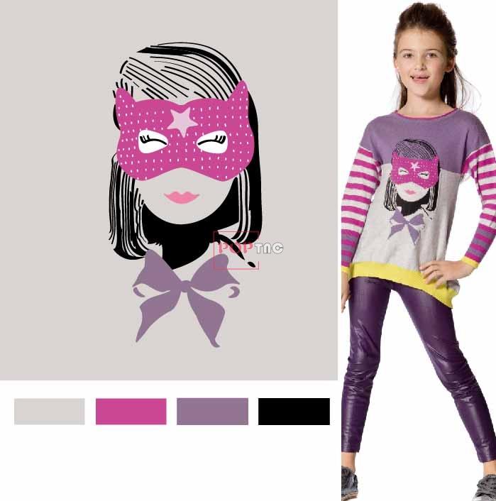卡通人物蝴蝶结印花图案服装裁片T恤卫衣烫图印花花型素材-POP花型网