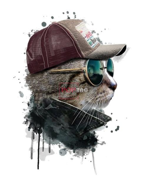 动物猫咪太阳帽印花图案服装裁片T恤卫衣烫图印花花型素材-POP花型网