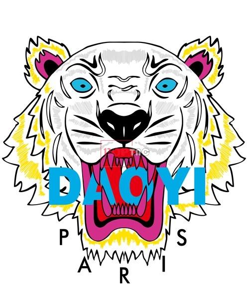 动物老虎头字母PARIS潮牌印花图案服装裁片T恤卫衣烫图印花花型素材-POP花型网