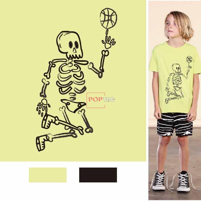 骷髅印花图案服装裁片T恤卫衣烫图印花花型素材-POP花型网