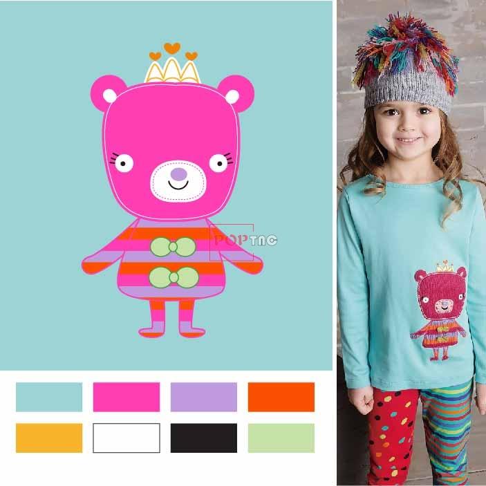 卡通动物粉色熊印花图案服装裁片T恤卫衣烫图印花花型素材-POP花型网