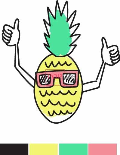 卡通图案菠萝印花服装裁片T恤卫衣烫图印花花型素材-POP花型网