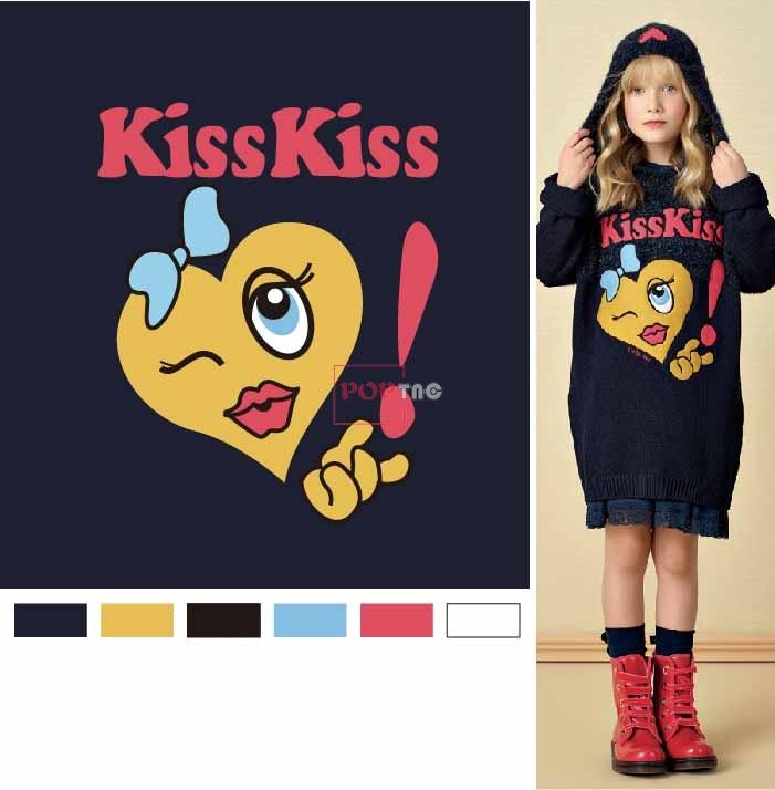 卡通图案爱心字母印花服装裁片T恤卫衣烫图印花花型素材-POP花型网
