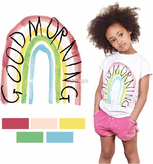 手绘彩虹字母印花图案服装裁片T恤卫衣烫图印花花型素材-POP花型网