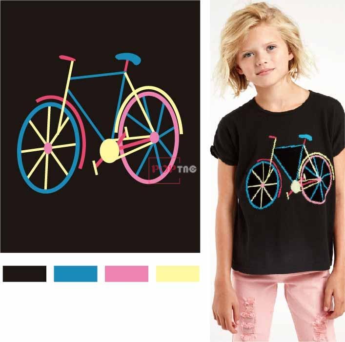 自行车印花图案服装裁片T恤卫衣烫图印花花型素材-POP花型网